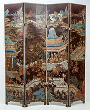 Chinese Black Lacquer Coromandel Four-Panel Screen, 19th Century