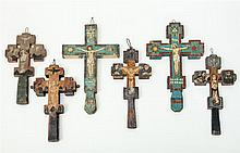 Assorted Group of Twelve Romanian Painted Wood Crosses, Early to Mid-20th Century