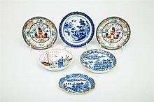 Three English Blue and White Porcelain Dishes, an English Dish with Chinese Figures and Two Modern Japanese Pewter-Mounted Porcelain...