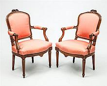 Two Louis XV/XVI Transitional Style Fauteuils en Cabriolet