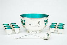 Towle Sterling Silver and Enamel Punch Set, Mid-20th Century