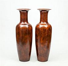 Pair of Burl Veneer Floor Vases