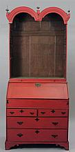 Queen Anne Red Painted Double-Domed Bureau Bookcase
