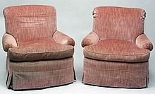 Pair of Salmon Velvet Upholstered Club Chairs