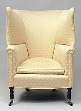 Regency Style Mahogany Upholstered Barrel Chair