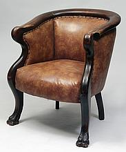 Victorian Style Mahogany and Leather Upholstered Tub-Back Armchair