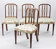 Set of Four George III Style Carved and Inlaid Mahogany Pierced Stick-Back Side Chairs
