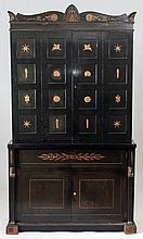 Regency Revival Dark Green Painted and Parcel-Gilt Bar Cabinet