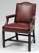 George III Style Mahogany and Leather Library Chair