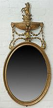George III Style Carved Giltwood Oval Mirror