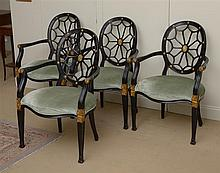 Set of Four George III Style Black-Painted and Parcel-Gilt Wheel-Back Armchairs