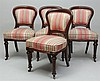 Set of Four Early Victorian Mahogany Upholstered Side Chairs