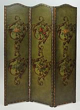 Napoleon III Brass-Studded Painted Leather Three-Panel Screen