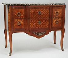 Louis XVI Style Kingwood and Tulipwood Marquetry and Parquetry Commode