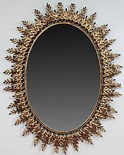 Gilt Metal Oval Mirror