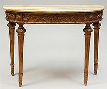 Louis XVI Giltwood D-Shaped Console
