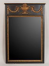 Louis XVI Style Black Painted and Parcel-Gilt Trumeau