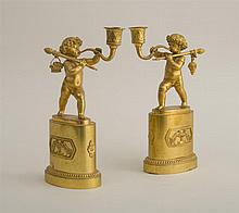 PAIR OF EMPIRE FIGURAL CANDLESTICKS