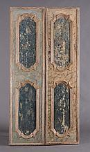 PAIR OF ITALIAN FAUX MARBLE AND SILVER-GILT PANELS