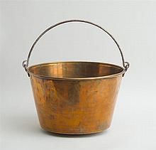 LARGE COPPER KINDLING BUCKET WITH HANDLE