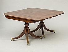 LATE GEORGE III MAHOGANY TWO-PEDESTAL DINING TABLE
