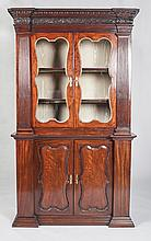 FINE GEORGE III CARVED MAHOGANY BOOKCASE