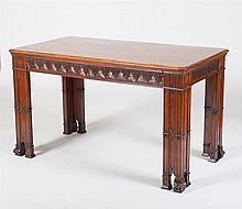GEORGE III STYLE CARVED MAHOGANY LIBRARY TABLE, IN THE CHIPPENDALE TASTE, 20TH CENTURY