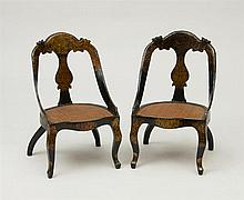 PAIR OF VICTORIAN BLACK LACQUER AND PARCEL-GILT CHILD'S CHAIRS