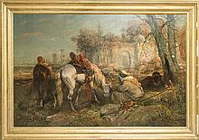 CHRISTIAN ADOLF SCHREYER (1828-1899): TWO RECLINING ARABS AND TWO TETHERED HORSES