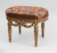 LOUIS XVI STYLE CARVED GILTWOOD TABOURET