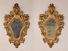 Pair of Venetian Rococo Style Carved Giltwood Small Mirrors