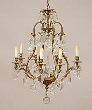Louis XV Style Brass-Mounted-Glass Eight-Light Chandelier