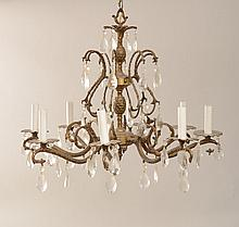 Baroque Style Bronze-Mounted-Crystal Eight-Light Chandelier