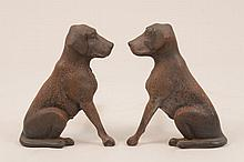 Pair of Cast-Iron Seated Hound Andirons