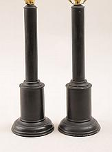 Pair of Ebonized Columnar-Form Lamps