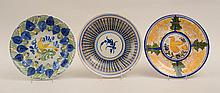 Group of Five Tin-Glazed Pottery Plates