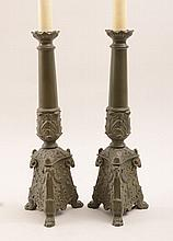 Pair of Renaissance Style Patinated Metal Column-Form Candlestick Lamps