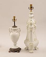 German White-Glazed Porcelain Urn-Form Lamp