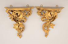 Pair of Italian Rococo Style Carved Giltwood Wall Brackets