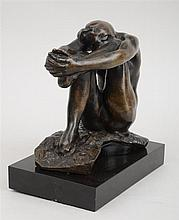 AFTER AUGUSTE RODIN (1840-1917): SEATED FIGURE