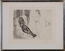 PABLO PICASSO (1881-1973): DEUX FEMMES, AVEC VOYEURS (PLATE 158 FROM 347 SERIES (BLOCH 1638)