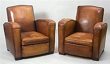 PAIR OF FRENCH ART DECO LEATHER UPHOLSTERED CLUB CHAIRS, CIRCA 1930