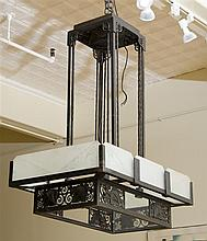 ART DECO WROUGHT IRON AND GLASS FOUR-LIGHT CHANDELIER