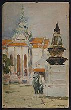 ATTRIBUTED TO NICHOLAI KALMAKOV (1873-1955): VIEW FROM THE STEPS