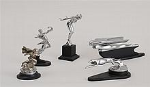 GROUP OF FIVE AMERICAN CHROME HOOD/RADIATOR ORNAMENTS