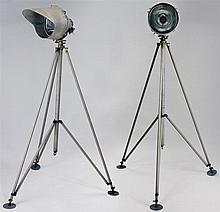PAIR OF LARGE INDUSTRIAL METAL ADJUSTABLE TRIPOD LAMPS