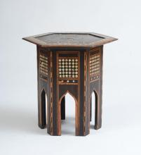 MOROCCAN MOTHER-OF-PEARL EBONY AND FRUITWOOD PARQUETRY HEXAGONAL-SHAPED TABLE