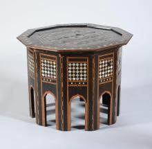 MOROCCAN MOTHER-OF-PEARL EBONY AND FRUITWOOD PARQUETRY SIDE TABLE