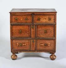 WILLIAM AND MARY INLAID OAK CHEST OF DRAWERS
