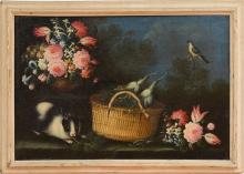 CONTINENTAL SCHOOL: STILL LIFE WITH BASKET AND RABBIT